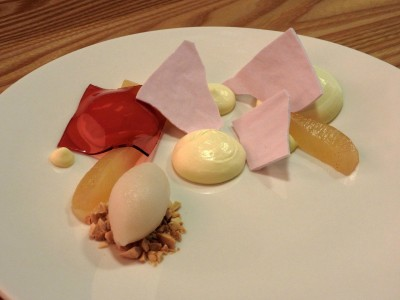 Lychee sorbet with pears on top of almonds and hibiscus gelee | Heartwood Provisions Valentine's dessert